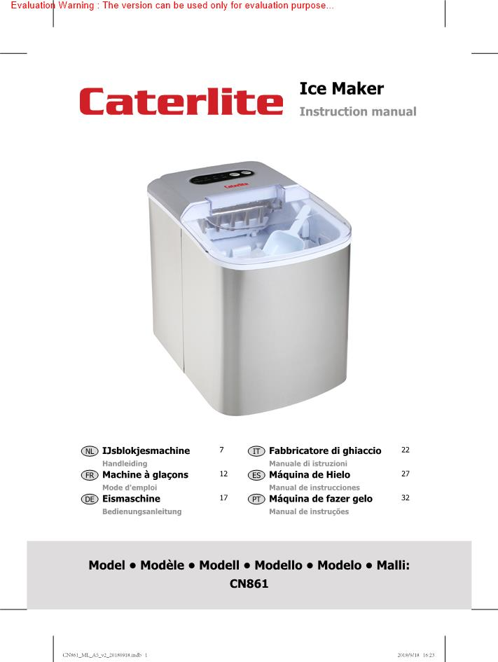Caterlite Countertop Party Manual Fill Ice Machine 10kg//24 @Next Day Delivery